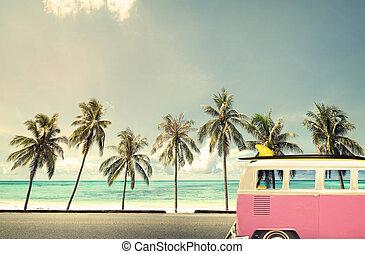 car on the beach with a surfboard - Vintage car on the beach...