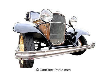 Vintage Car - Luxury vintage car isolated on to white...
