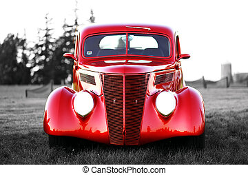 vintage car - classic red vintage car