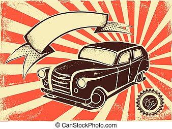 Vintage car poster template
