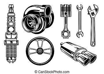 Vintage car repair elements set