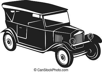 Vintage car - Roadster car in retro style for vintage design