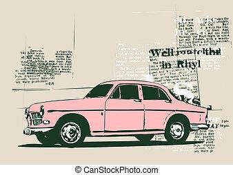 vintage car - Illustration of old vintage custom...