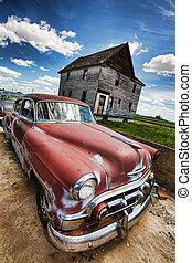 vintage car - Old vintage cars left rusting in a ghost town