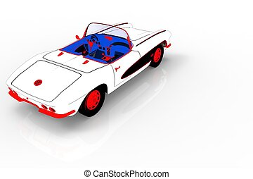 Vintage car template 3d rendering