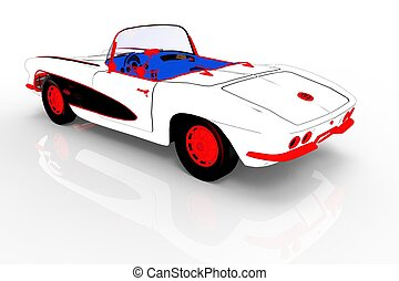 Vintage car template 3d rendering