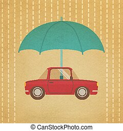 Vintage car under umbrella