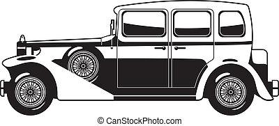Vintage car - black and white illustration of Vintage car...