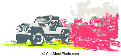 vintage car - Vector illustration of stylized vintage ...