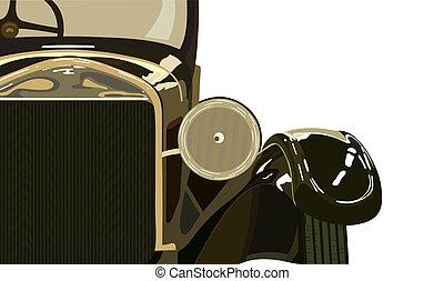 Vintage car the twentieth years of last century. Vector illustration.