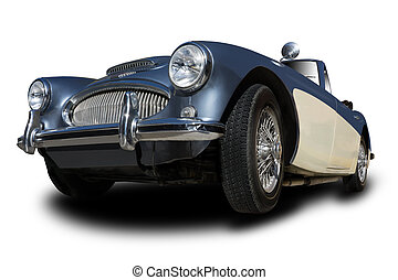 Vintage Car - Vintage Convertible Car isolated on white...