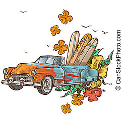 vintage car with surfboard on white background