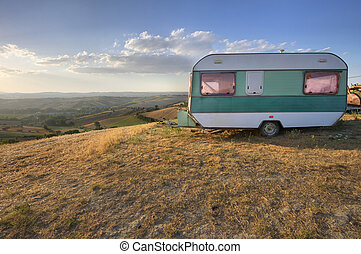 Vintage caravan in a rural area