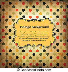 Vintage card design with dot pattern. Vector, EPS10