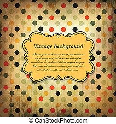 Vintage card design with dot pattern. Vector, EPS10