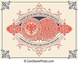 Vintage card design with floral details.