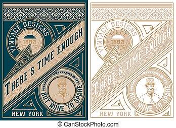 Vintage card design with gentelman detail