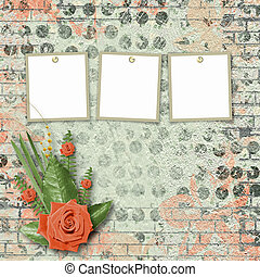 Vintage card for congratulations and invitations with a bouquet of coral roses