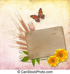 Vintage Card for invitation or congratulation with  flowers  and butterfly