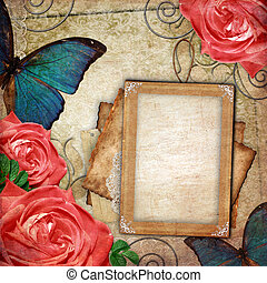 Vintage card for the holiday with flower on the abstract background