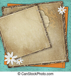 Vintage card for the holiday with frames, flowers on the abstract background