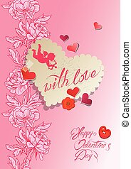 Vintage card, heart is made of old
