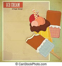 ice cream on grunge background