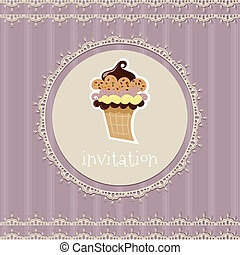 Vintage card--invitation--with cupcake on a purple background
