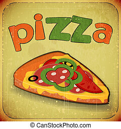 pizza retro label - Vintage card menu - pizza retro label