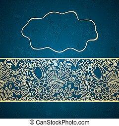 Vintage card on blue background