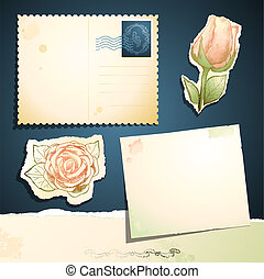 Vintage card set, vector
