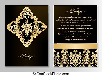 Vintage card template with floral ornaments