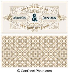 vintage card template with pattern. Design with Flourishes Elega