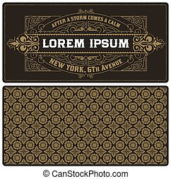 vintage card template with pattern.