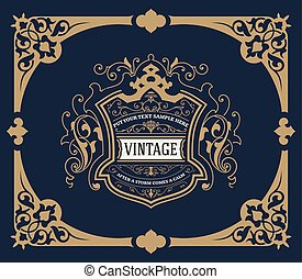 Vintage card. vector template. Floral Ornaments.