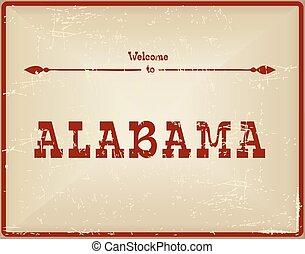 Vintage card Welcome to Alabama