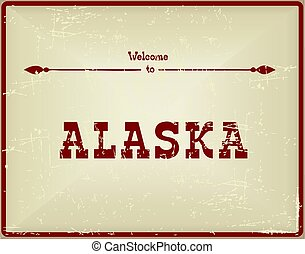Vintage card Welcome to Alaska