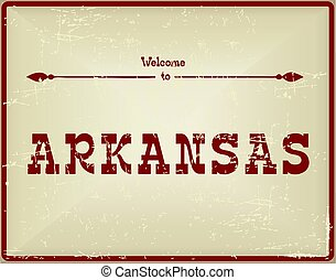 Vintage card Welcome to Arkansas