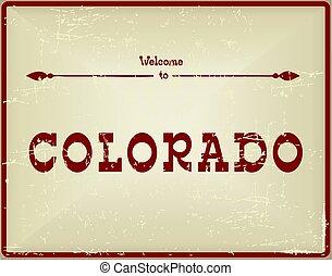 Vintage card Welcome to Colorado