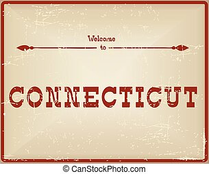 Vintage card Welcome to Connecticut