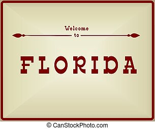 Vintage card Welcome to Florida