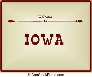 Vintage card Welcome to Iowa