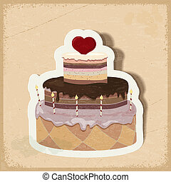 Vintage card with a cake on Valentine's Day. eps10