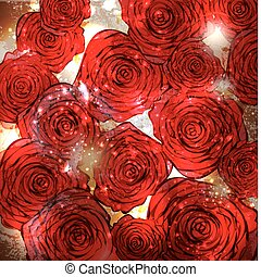 Vintage card with a flower. vector rose flower background