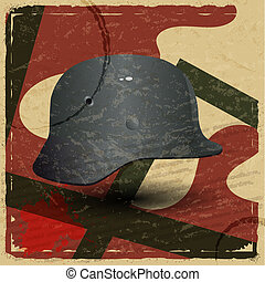 Vintage card with a picture of the fascist military helmet