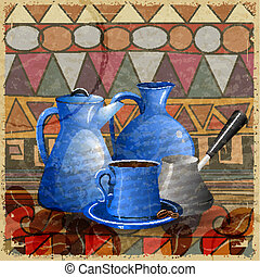 Vintage card with a set of objects for a coffee on the ethnic background