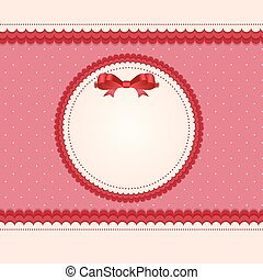 Vintage Card with Bow Vector Illustration