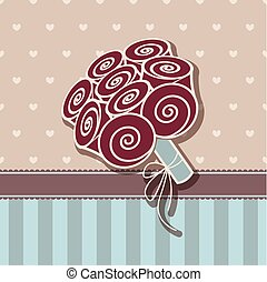 Vintage card with bunch of roses