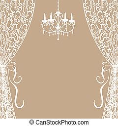 Vintage card with chandelier and curtains