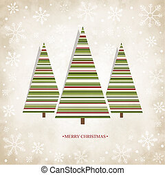 Vintage card with Christmas trees - Vector vintage card with...